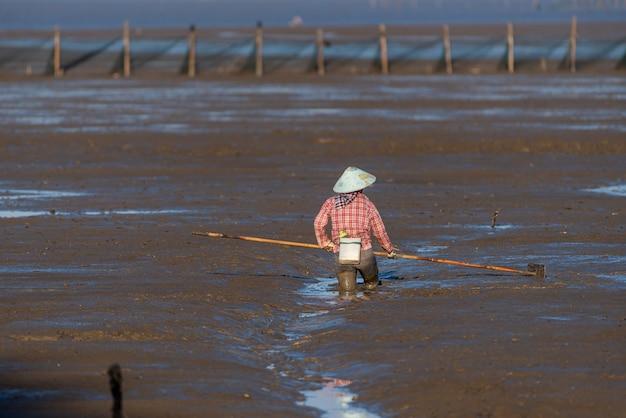 One fishman working on the black beach