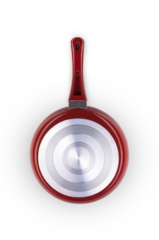 흰색 배경 근접 촬영에 붉은 색의 프라이팬