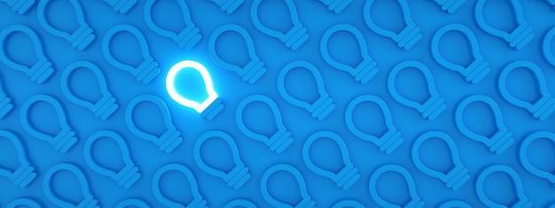 青い背景、個性とさまざまな創造的なアイデアの概念、3dレンダリング、パノラマパターンの消灯白熱電球から目立つ1つの輝く電球アイコン