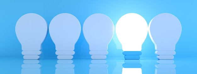 One glowing light bulb icon standing out from the unlit incandescent bulbs on blue background, individuality and different creative idea concept, 3d rendering, panoramic image