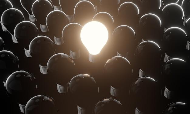 点灯していない白熱電球から目立つ1つの光る電球。創造的なアイデアとイノベーションの概念、3dイラスト