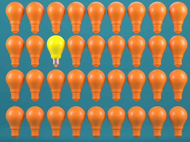 Одна светящаяся лампочка, выделяющаяся из неосвещенной лампочки накаливания индивидуальности и различных креативных идей, концепции 3d-рендеринга