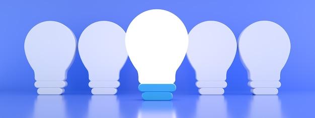 青い背景の個性と異なる創造的なアイデアの概念、3dレンダリング、パノラマ画像の上に点灯していない白熱電球から際立っている1つの輝く電球