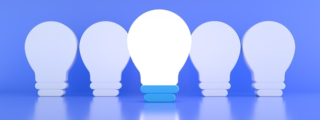One glowing light bulb standing out from the unlit incandescent bulbs over blue background individuality and different creative idea concept, 3d rendering, panoramic image