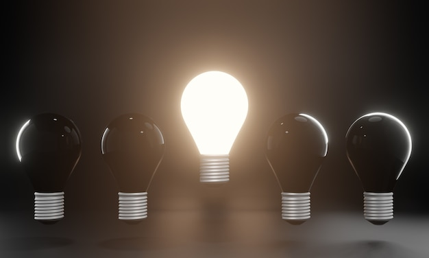One glowing light bulb standing out from the unlit incandescent bulbs. creative idea and innovation concept, 3d illustration