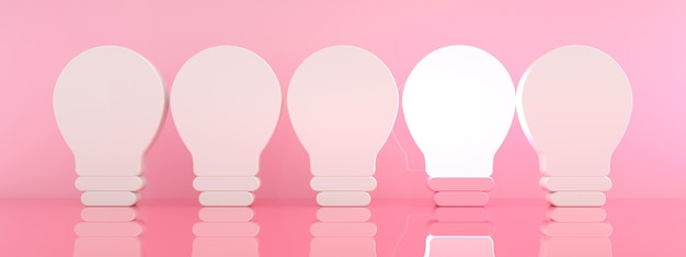 One glowing light bulb standing out from the unlit incandescent bulbs over pink background, individuality and different creative idea concept, 3d rendering, panoramic image