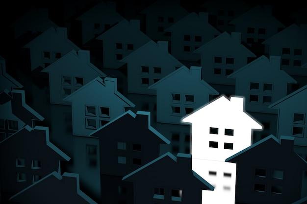 집 아이콘 극단적인 근접 촬영의 행 중 하나의 빛나는 빛 집 아이콘. 3d 렌더링