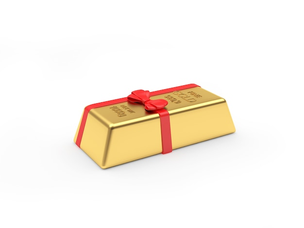 One gold bar with a gift ribbon