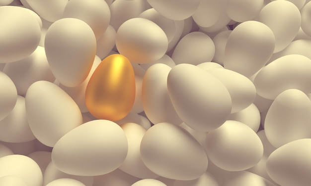 One golden egg among many white eggs. 3d illustration