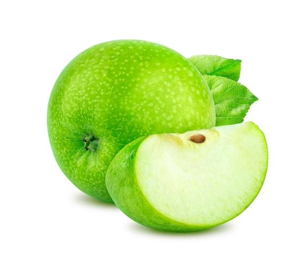 One green apple isolated on white background