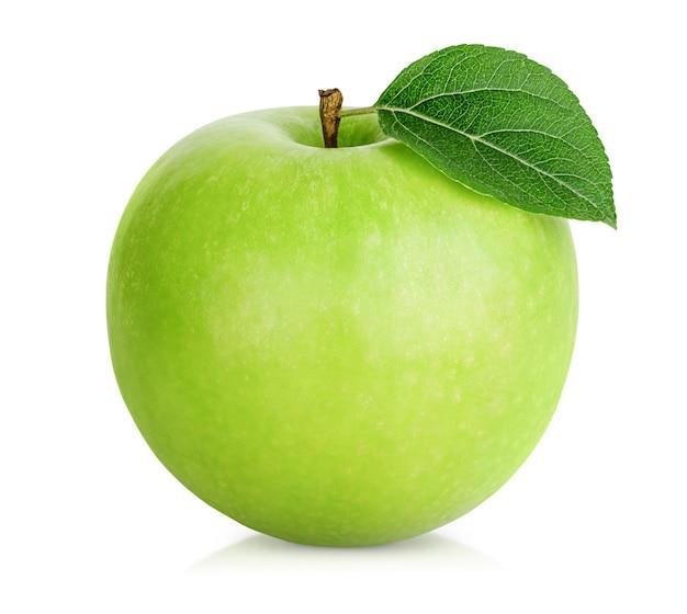 격리 된 흰색 배경에 하나의 녹색 사과
