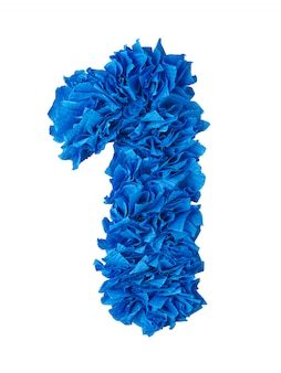 One, handmade number 1 from blue scraps of paper isolated on white