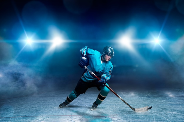 One hockey player on ice