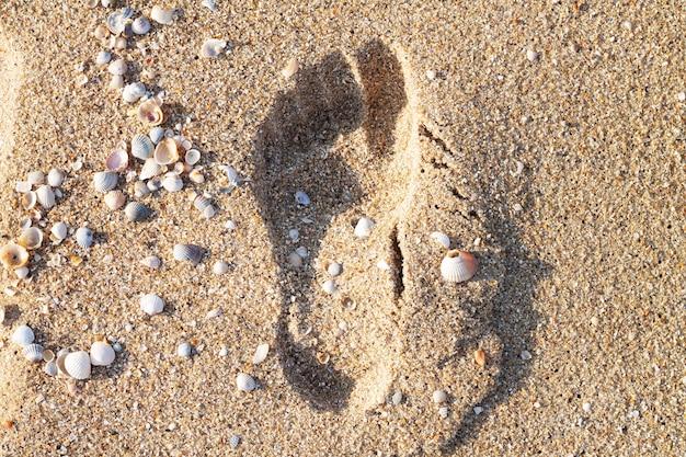 Один человеческий след на песке на морском пляже, вид сверху
