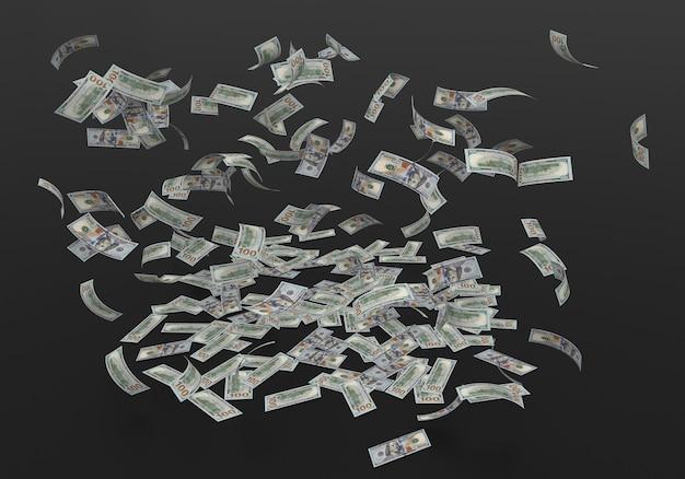 검은 배경에 떨어지는 100 100 달러 지폐