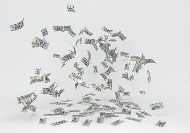 백 100 달러 지폐 흰색 배경에 떨어지는