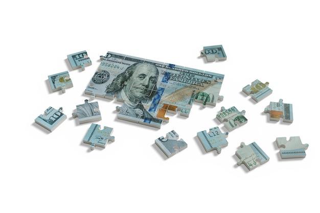 100 달러 빌 퍼즐 흰색 background.zzle에 고립
