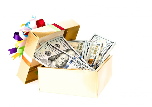 One hundred dollars banknotes in decorated gift box.