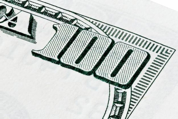 Съемка макроса банкноты 100 долларов, сложенное фото. фотография высокого разрешения.