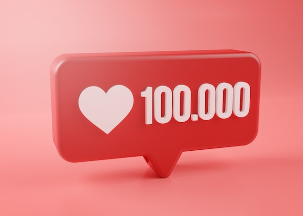 One hundred thousand love notification icon 3d rendering on pink background