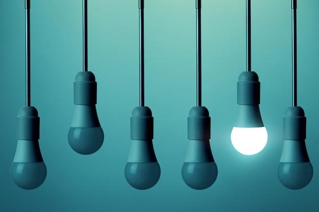 하나의 led 램프가 켜져 있지 않은 다른 전구 사이에 조명