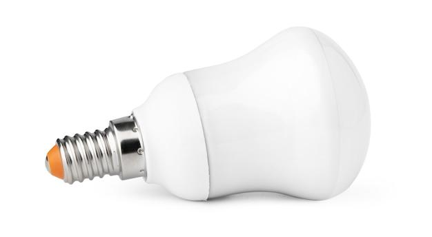 흰색 배경에 고립 된 하나의 전구