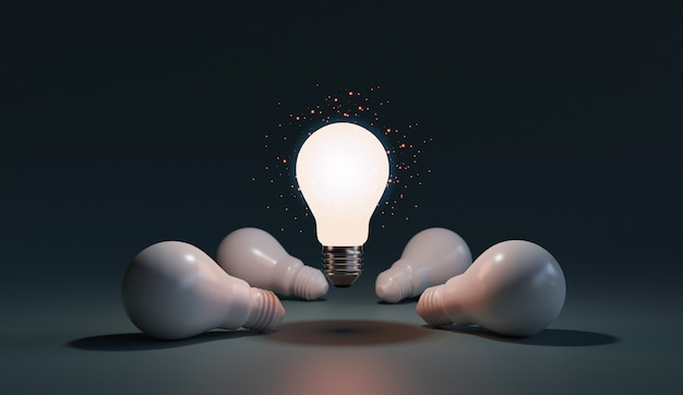 One of lightbulb glowing among shutdown light bulb  in dark area with copy space for creative thinking , problem solving solution and outstanding concept by 3d rendering technique.