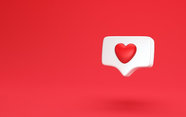 One like social media notification with heart icon. minimal concept social media love concept 3d render