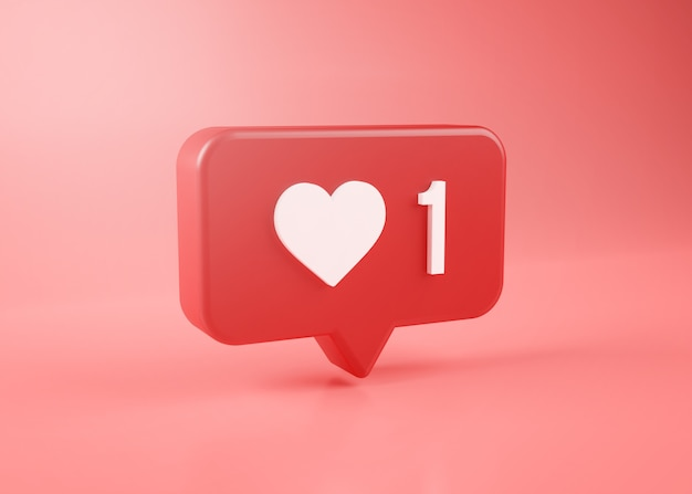 One love notification icon 3d rendering on pink background