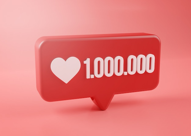 One million love notification icon 3d rendering on pink background