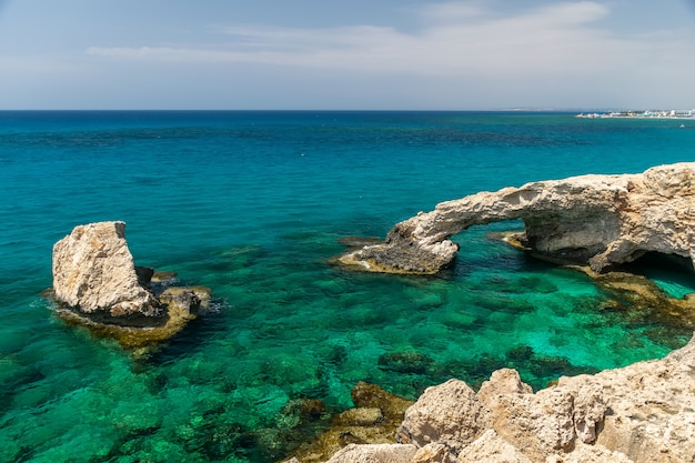 One of the most popular attractions is the lovers' bridge. cyprus, ayia napa.