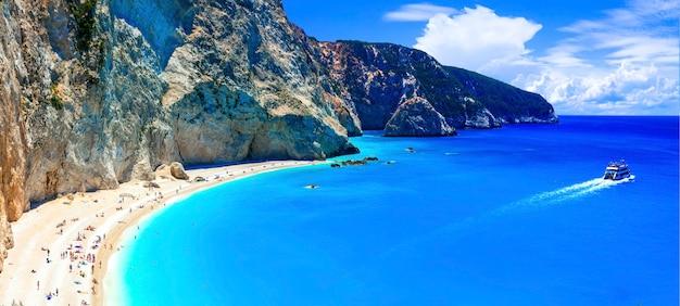 그리스에서 가장 아름다운 해변 중 하나-lefkada의 porto katsiki. 이오니아 섬