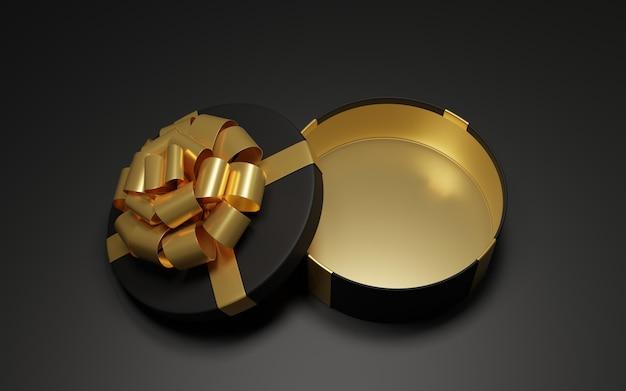 Один открытый подарок в черном и золотом на темной поверхности 3d-рендера
