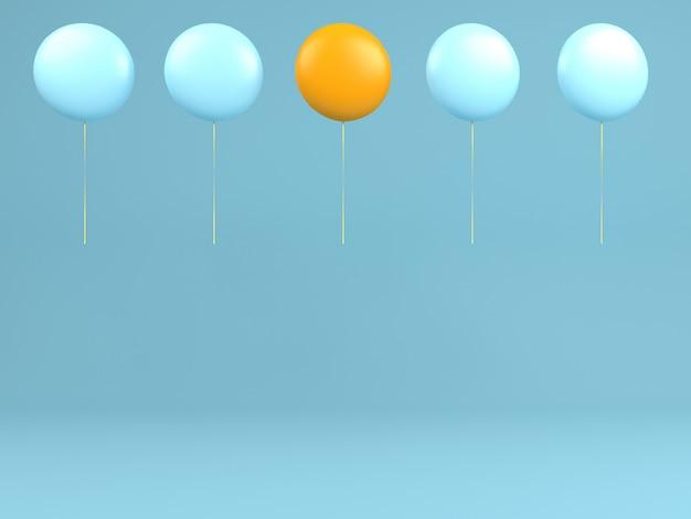 공기 개념 파스텔 최소한의 배경에서 한 오렌지 풍선과 파란색 풍선 비행