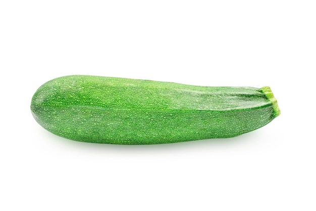 One organic raw green zucchini or summer squash on white isolated wall with clipping path.