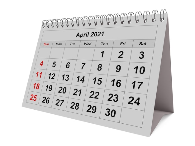 One page of the annual monthly calendar  month april 2021 3d rendering