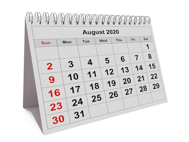 One page of the annual monthly calendar - month august 2020