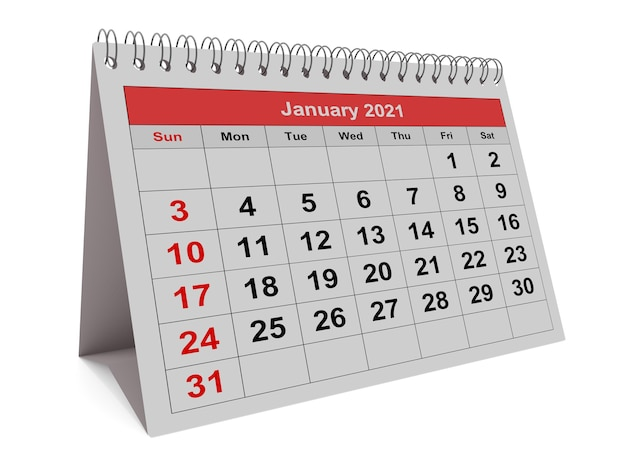 One page of the annual monthly calendar - month january 2021