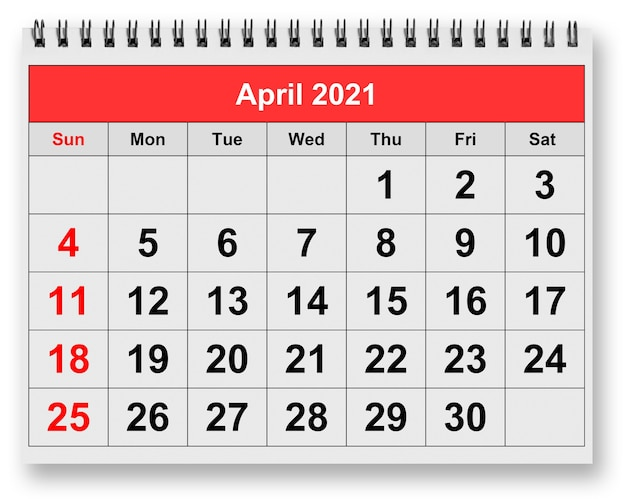 One page of the annual monthly calendar