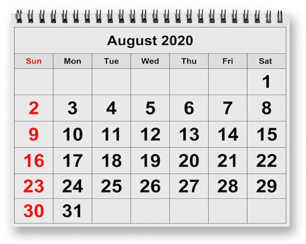 연간 월별 달력 1 페이지-2020 년 8 월 월
