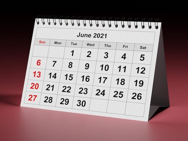 연간 월간 달력 월 2021년 6월의 한 페이지 3d 렌더링