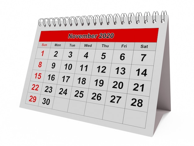 Одна страница годового ежемесячного календаря - месяц ноябрь 2020 г.