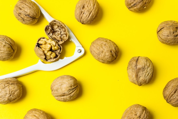 One peeled walnut among a group of ordinary nuts. leader, individuality, best worker, best employee
