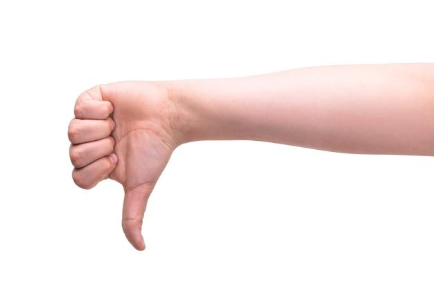 Рука одного человека показывает большой палец вниз концепция неодобрения жесты, проигравшие
