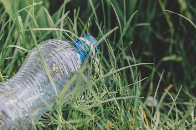 One plastic bottle lies on the grass on the ground, environmental pollution, plastic garbage waste