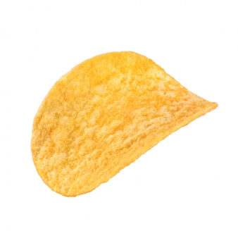 One potato chip isolated on white background