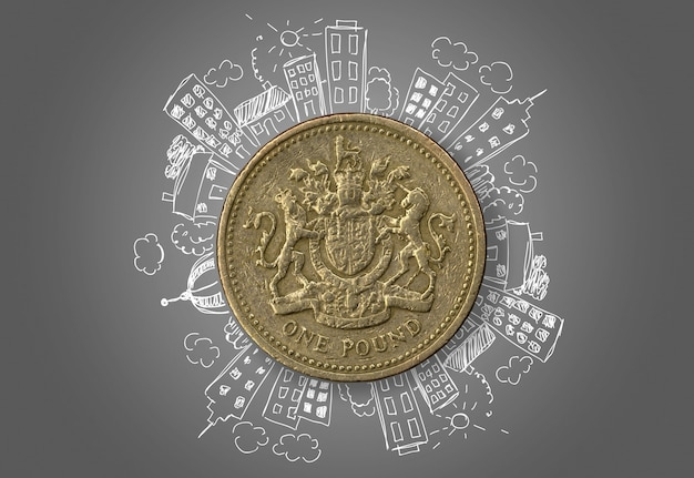 One pound with hand drawn buildings over grey background