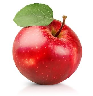 흰색 격리된 배경에 잎이 있는 빨간 사과 한 개