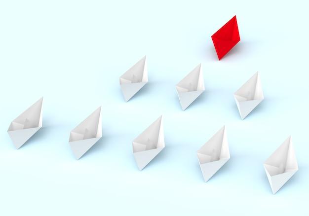 Один красный лидерный корабль ведет вперед другие белые корабли.