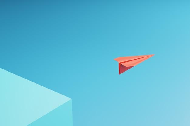 Один красный бумажный самолетик, указывающий по-разному на синем фоне.